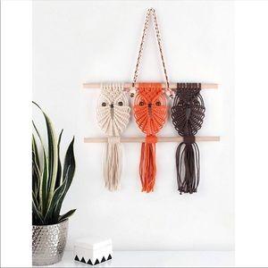 Three Owls Macrame Woven Wall Hanging